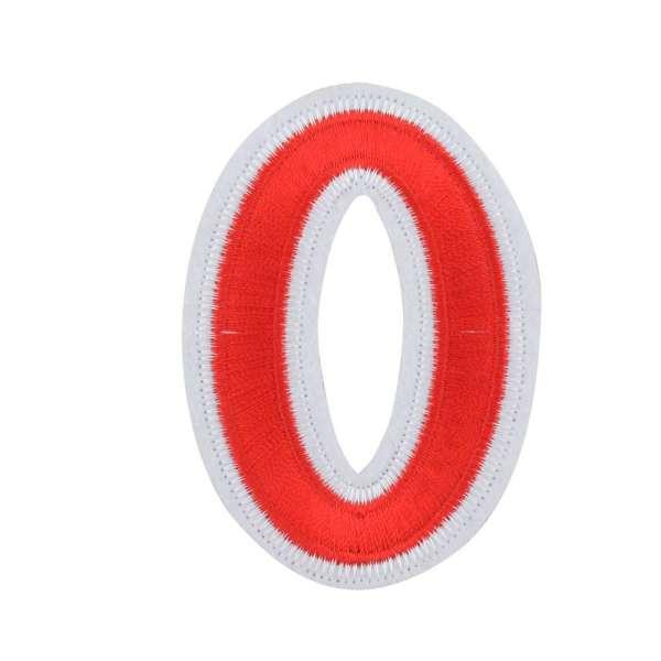 Термоаппликация Цифра 0 красная 50х80мм