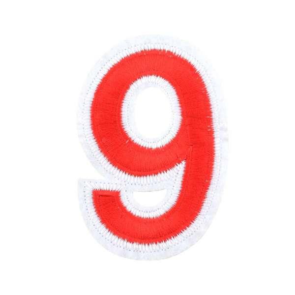 Термоаппликация Цифра 9 красная 60х90мм