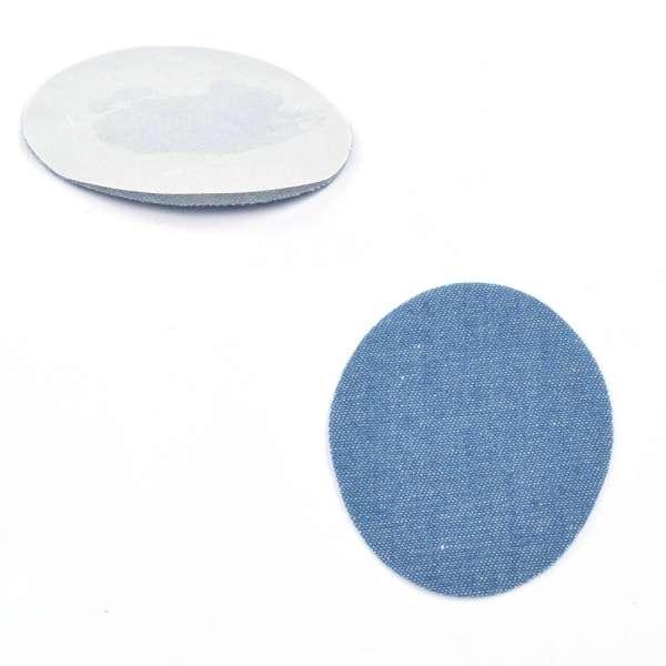 Термоаппликация Латка овальная 90х70мм голубая