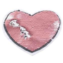 Нашивка Пайетки сердце 220х180мм серебро/фрез