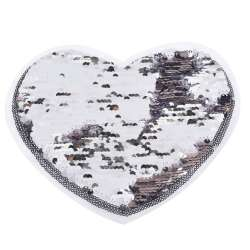 Нашивка Пайетки сердце 220х180мм серебро/сиреневый