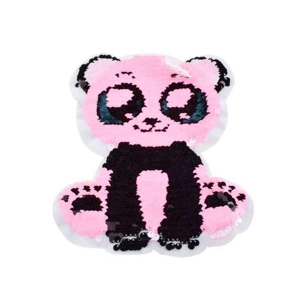 Нашивка Пайетки панда 160х200мм бело-розовая