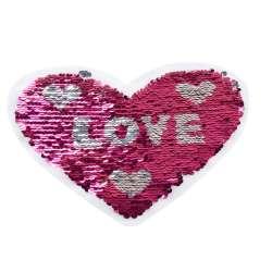 Нашивка Пайетки сердце LOVE 210х160мм малиновое/серебро