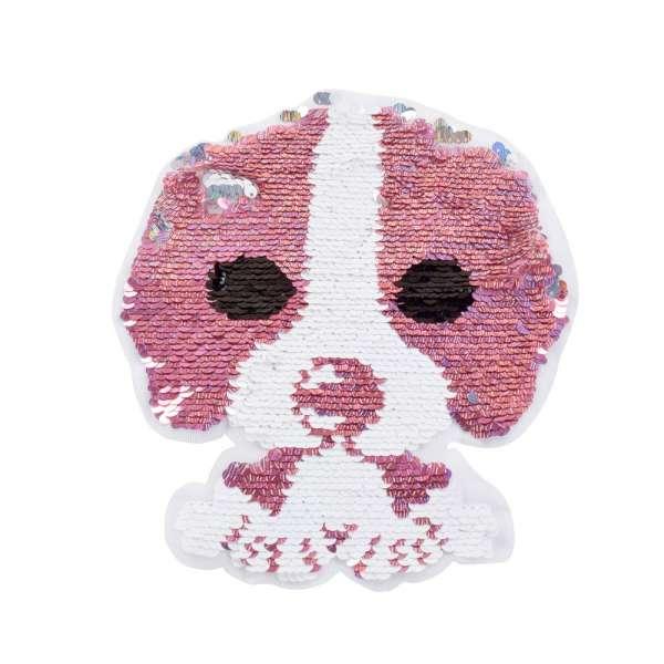 Нашивка Пайетки собака 185х230мм розовая/серебро