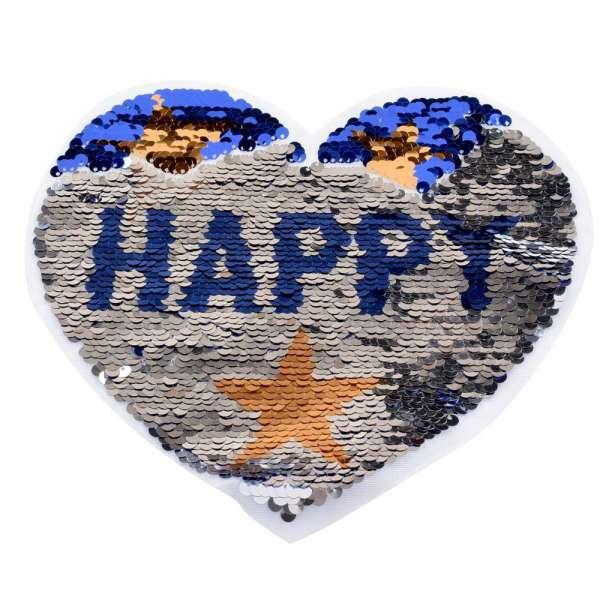 Нашивка Пайетки сердце HAPPY 210х160мм синее/серебр