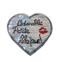 Нашивка Пайетки сердце 190х180мм голограмма серебро/серебро