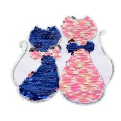 Нашивка Пайетки два кота 210х230мм сине-розовые