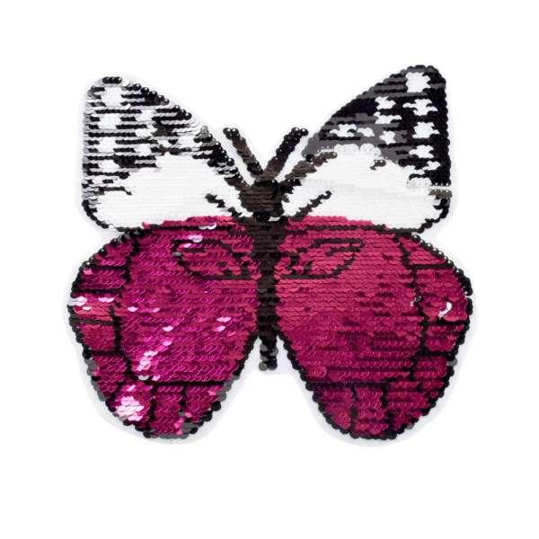 Нашивка Пайетки бабочка 230х240мм малиновая/серебро