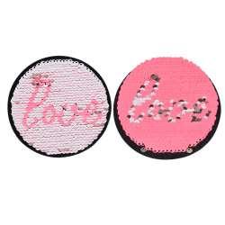 Термоаппликация Пайетки круг LOVE 90х90мм серебро/розовый