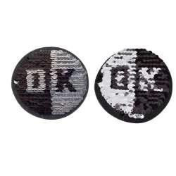 Термоаппликация Пайетки круг ОК черный/серебро