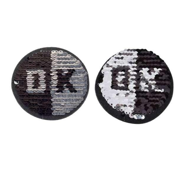 Термоаппликация Пайетки круг ОК 90х90мм черный/серебро