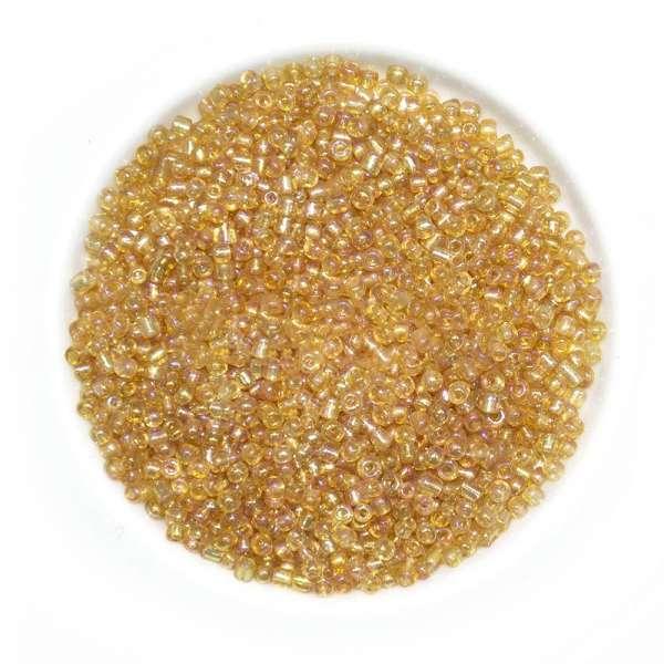 Бисер золотисто-бежевый+сиреневый ассорти