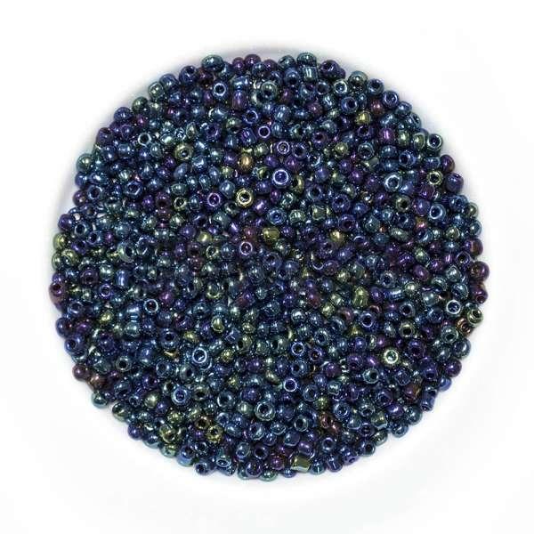 Бисер темно-синий+салатовый ассорти