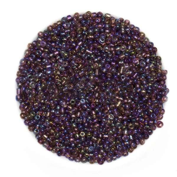 Бисер фиолет-синий + золотистый ассорти