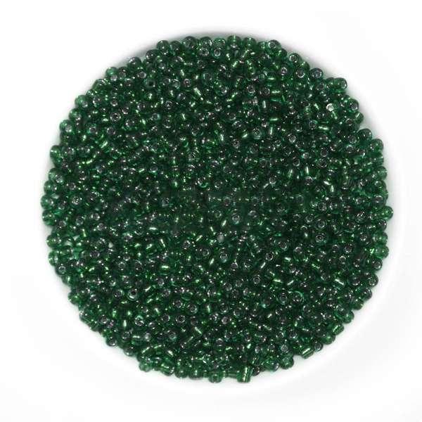 Бисер темно-зеленый с черным