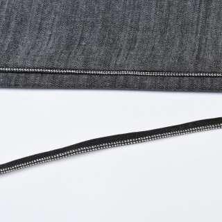 кант встрочной серебряный на черной основе, ш.10мм