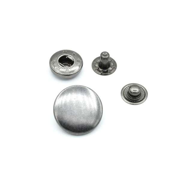 Кнопка металлическая из 4 частей 20мм темный никель
