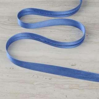 """Косая бейка 16мм (5/8"""") на метраж голубая темная"""