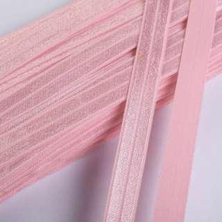 косая бейка стрейч розовая 15 мм