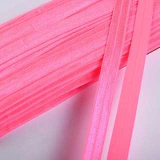 косая бейка стрейч розовая неон 15 мм