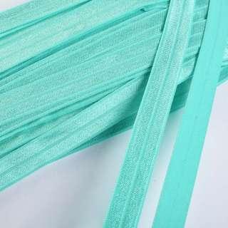 косая бейка стрейч зеленая бирюза 15мм
