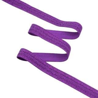 Косая бейка стрейч с люрексом 15 мм фиолетовая