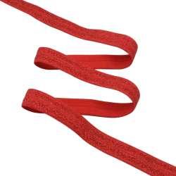 Косая бейка стрейч с люрексом 15 мм красная