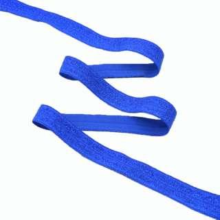 Косая бейка стрейч с люрексом 15 мм синяя