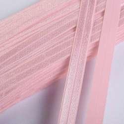 Косая бейка стрейч 15 мм розовая светлая