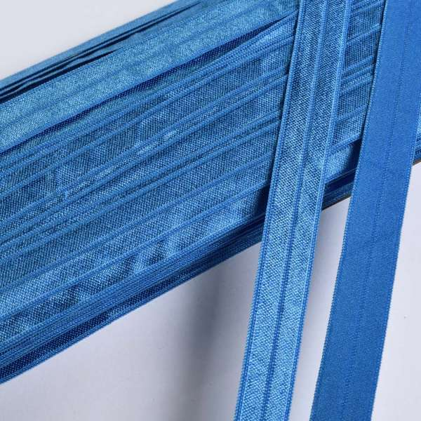 Косая бейка стрейч 15 мм синяя