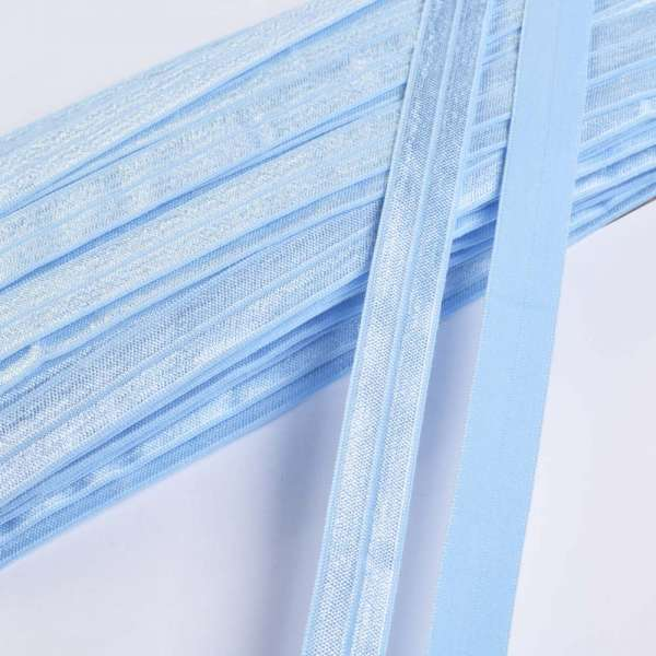 Косая бейка стрейч 15 мм голубая небесная