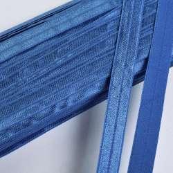 Косая бейка стрейч 15 мм голубая темная