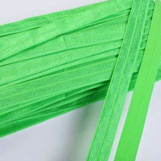 Косая бейка стрейч 15 мм зеленая