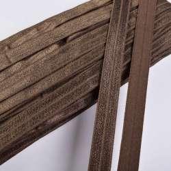 Косая бейка стрейч 15 мм коричневая шоколадная