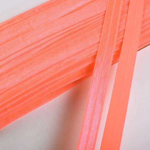 Косая бейка стрейч 15 мм оранжевая неон