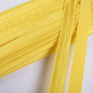 Косая бейка стрейч 15 мм лимонная
