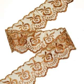 Кружево капрон 40мм коричнево-золотистое
