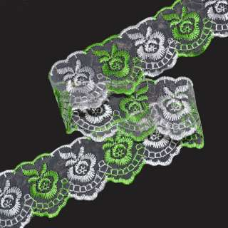 Кружево капрон двухцветное 40мм зелено-белое