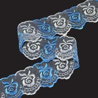Кружево капрон двухцветное 40мм бело-голубое