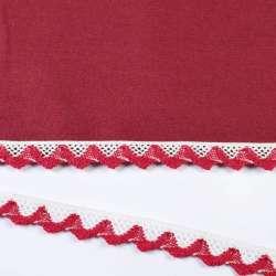 Кружево хлопок зигзаг 20мм бело-бордовое