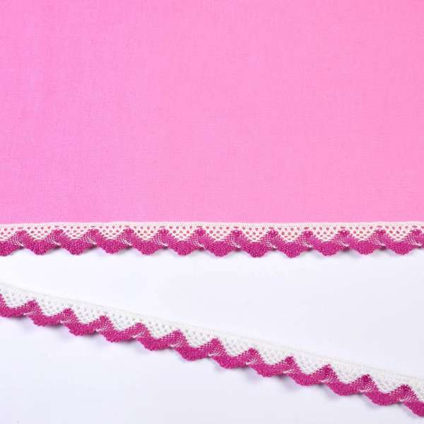 Кружево хлопок зигзаг 20мм бело-лиловое