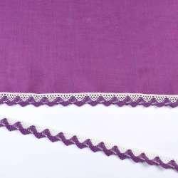 Кружево хлопок зигзаг 20мм бело-фиолетовое