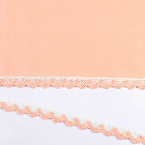 Кружево хлопок зигзаг 20мм бело-персиковое