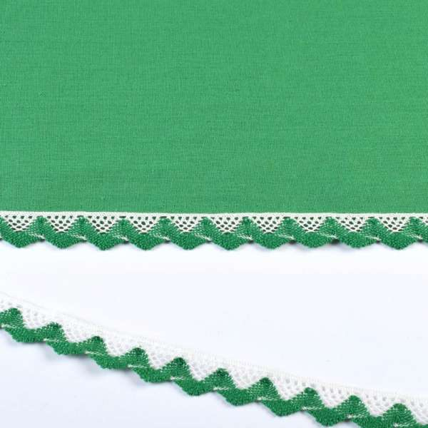 Кружево хлопок зигзаг 20мм бело-зеленое