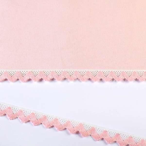Кружево хлопок зигзаг 20мм бело-розовое