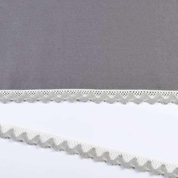 Кружево хлопок зигзаг 20мм бело-серое светлое