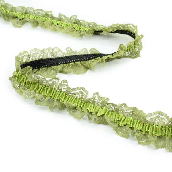 Кружево рюш на резинке с атласной лентой 40мм зеленое