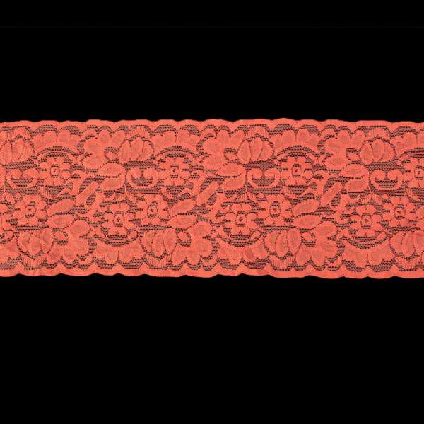 Кружево стрейч 100мм коралловое
