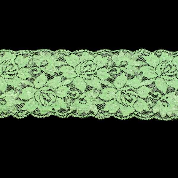Кружево стрейч розы 100мм салатовое