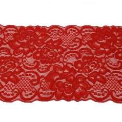 Кружево стрейч розы 175мм красное